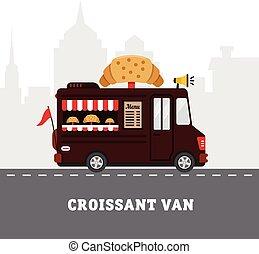 appartamento, fastfood, cibo strada, isolato, illustrazione, delivery., vettore, disegno, van.