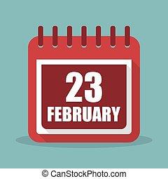 appartamento, febbraio, 23, illustrazione, vettore, calendario, design.