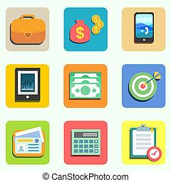 appartamento, finanza, icone