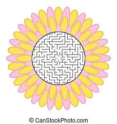 appartamento, fiore, forma, fondo., labirinto, astratto, isolato, illustrazione, silhouette., semplice, vettore, bianco