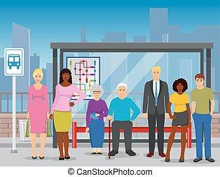 appartamento, folla, manifesto, fermata, autobus, composizione