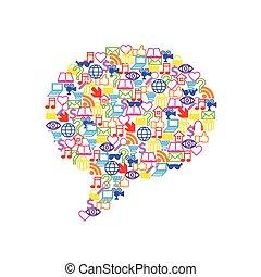 appartamento, forma, icone, media, vettore, discorso, sociale, bolla
