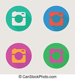 appartamento, foto, icona, macchina fotografica, video, minimalismo, disegno, hipster, o, stile