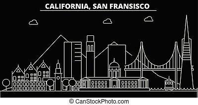 appartamento, francisco, silhouette, san, stati uniti, illustrazione, -, architettura, lineare, icone, landmarks., americano, vettore, skyline., edifici., linea, bandiera, viaggiare, città, contorno
