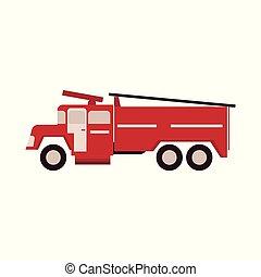 appartamento, fuoco, scala, firetruck, isolato, illustrazione, fondo., vettore, bianco, engine., rosso