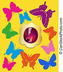 appartamento, gemstone, set, farfalle