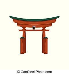 appartamento, giapponese, isolato, vettore, cancello torii, icona