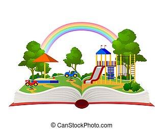 appartamento, giardino, concetto, sogno occhi aperti, parco, divertimento, fantasia, vettore, libri, foresta, cultura, bambino, playground., verde, libro aperto, paesaggio, biblioteca