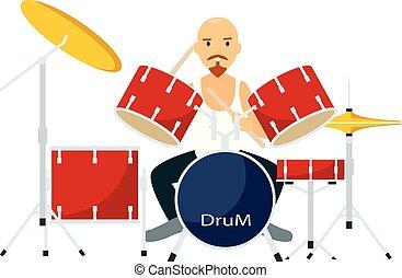 appartamento, gioco, stile, tamburi, roccia, icona, uomo