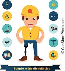 appartamento, gli utenti disabili, icone, persone