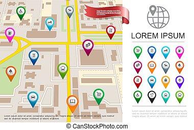 appartamento, gps, concetto, mappa urbana