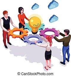 appartamento, grafico, gruppo, affari, persone lavorare, concept., isolato, illustrazione, team., vettore, lavoro squadra, cooperazione, disegno, cartone animato