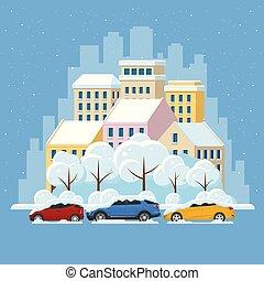 appartamento, grattacieli, urbano, panorama, concept., cars., orizzonte, illustrazione, neve, vettore, sotto, strada città, inverno