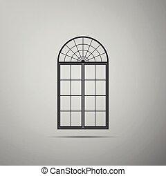 appartamento, grigio, illustrazione, isolato, fondo., finestra, vettore, icona, design.