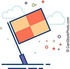 appartamento, guardalinee, colorare, -, bandiera, icona