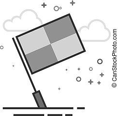 appartamento, guardalinee, grayscale, -, bandiera, icona