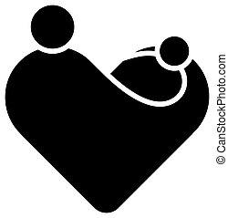 appartamento, heart., lei, madri, simbolo, madre, theme., illustrazione, o, maternità, forma, vettore, semplificato, bambino, nero, giorno, hands.