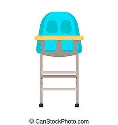 appartamento, icona, cibo, seat., sgabello, infanzia, alto, cena, vettore, design., bambino, tavola, sedia, bambino primi passi, cartone animato, mobilia, capretto