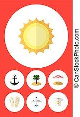 appartamento, icona, estate, set, di, spiaggia, sandali, parasole, noce di cocco, vettore, objects., anche, include, aereo, alba, noce di cocco, elements.