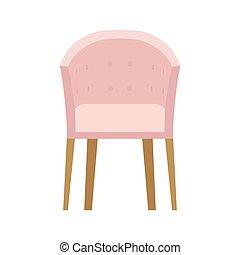 appartamento, icona, rilassare, isolated., poltrona, moderno, illustrazione, posto, fronte, vettore, elemento, interno, casa, mobilia, comodo, vista