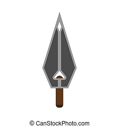 appartamento, icona, tribale, elemento, forma, vettore, archery., retro, arco, arma, arowhead