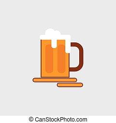 appartamento, icona, vettore, vetro, illustrazione, stilizzato, birra