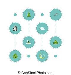 appartamento, icone, albero, isola, spiaggia, cielo, e, altro, vettore, elements., set, di, eco, appartamento, icone, simboli, anche, include, panda, isola, albero, objects.