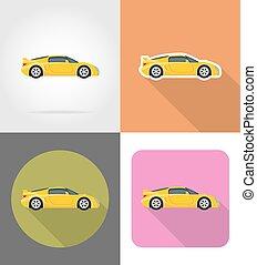 appartamento, icone, automobile, illustrazione, vettore, sport