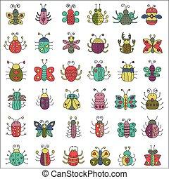 appartamento, icone, colorare, collection., set., errori del software, insetti, linea, farfalla