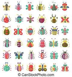 appartamento, icone, colorare, collection., set., errori del software, semplice, insetti, farfalla
