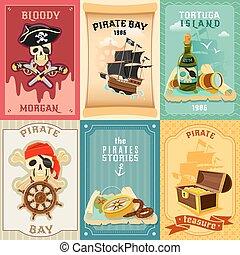 appartamento, icone, composizione, manifesto, pirata
