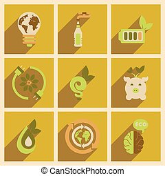 appartamento, icone concetto, lungo, ecologia, uggia