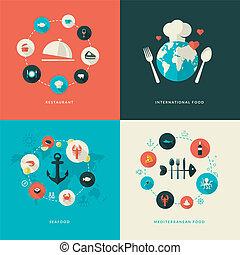 appartamento, icone, disegno, ristorante