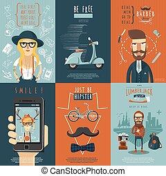 appartamento, icone, hipster, composizione, manifesto