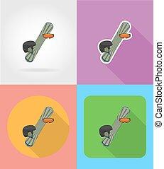 appartamento, icone, illustrazione, apparecchiatura, vettore, snowboarding, sport