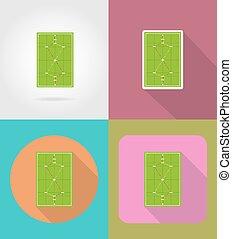 appartamento, icone, illustrazione, vettore, campo di gioco, croquet