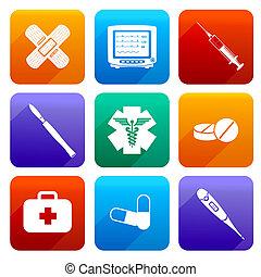 appartamento, icone mediche