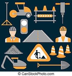 appartamento, icone, uomini, lavoro, disegno, lavori in corso