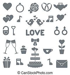 appartamento, icone, vettore, matrimonio