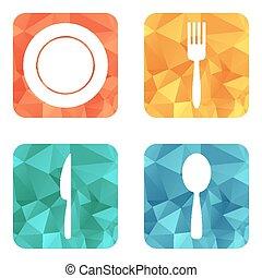 appartamento, icons., menu, ristorante