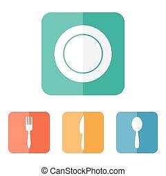 appartamento, icons., menu, utensili