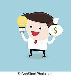 appartamento, idea affari, soldi, equilibratura, disegno, uomo