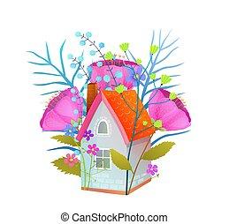 appartamento, illustration., casa, piccolo, floreale, vettore, cottage