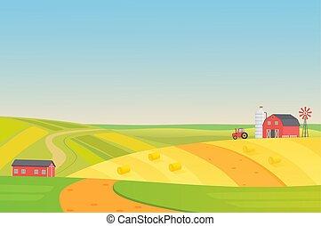 appartamento, illustration., colorito, eco, agricoltura, silaggio, veicoli, soleggiato, fattoria, autunno, vettore, torre, hay., mulino vento, paesaggio, raccolta