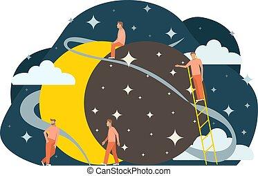 appartamento, illustration., eclipse., sole, persone, piccolo, astrolomy