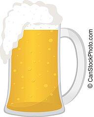 appartamento, illustration., fondo., isolato, vetro, birra, vettore, tazza bianca, style., icona