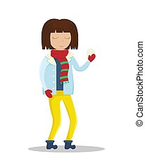 appartamento, illustration., lei, palla neve, vettore, ragazza, vestiti, hands., inverno