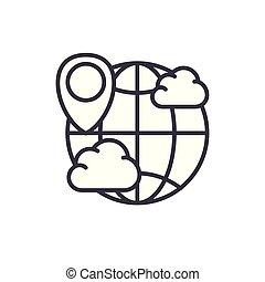 appartamento, illustration., segno, concept., previsione, vettore, nero, tempo, mondo, simbolo, icona