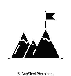 appartamento, illustrazione, cima, icona, nero, raggiungimento, vettore, simbolo, glyph, concetto, segno.