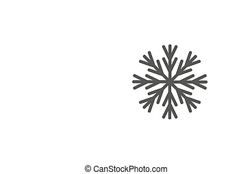appartamento, illustrazione, fiocco di neve, fondo., vettore, nero, bianco, icon.